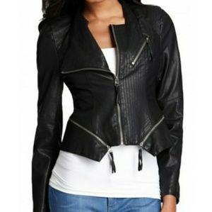 Blank NYC Leather Zipper Jacket Moto Aviator Black